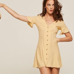Reformation Yellow Dolce Dress